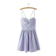 OLGITUM New Fashion Summer Dress Sweet Solid V-neck Bowknot Harness Camis Simple Hollow Women Dress 5 Color LJ1002S
