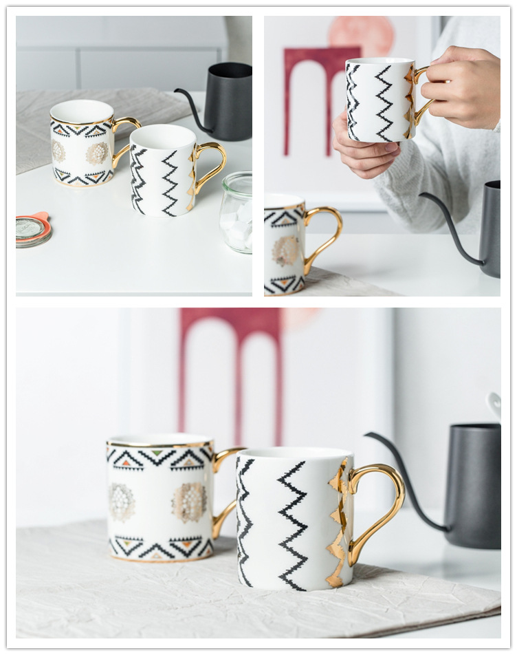 Luxury Gold Totems Mosaic Geometric Flamingo Ceramic Coffee Mug Coffee Cup Gold Breakfast Milk Water Cup Couple Creative Gifts