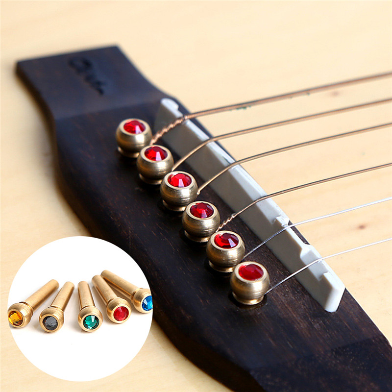 6PCS Folk Guitar Crystal Brass Acourstic Guitar Strings Bridge Pins Guitarra Part Accessories For String Instrument With Tin box