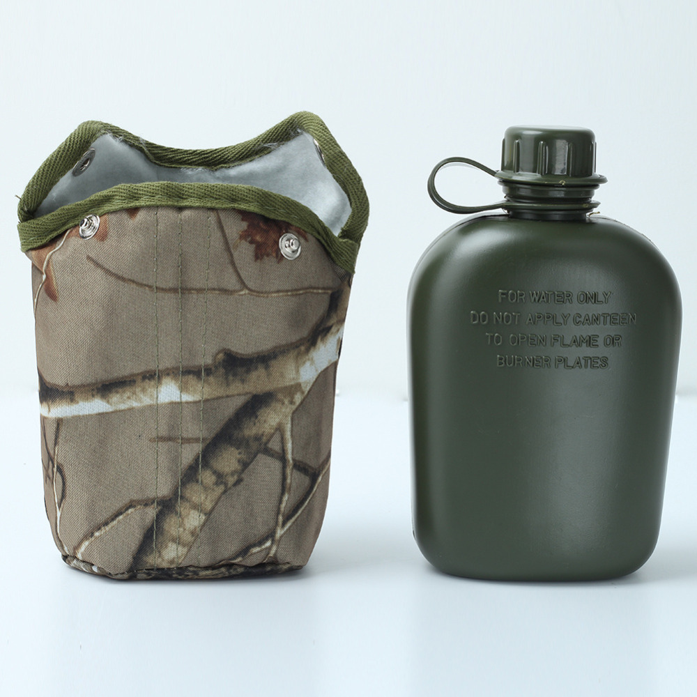 Cloth-Cover Canteen Army Military Stainless-Steel Outdoor-Sport Aluminum Green And S03 title=