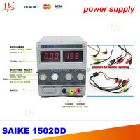 SAIKE 1502DD Cellphone Repairs DC Regulated Power Supply 15V 2A 220V Free Adapters For Mobile Repairing