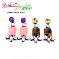 2013 New Arrival Vintage Pink And Brown Resin Stone Flower Drop Earrings For Women Fashion Crystal