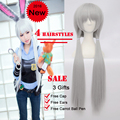 4 стилей мода Zootopia джуди косплей длинные Kaneki прямые парики серебро / серый парик синтетические женщины Peruca / парики / Perucas