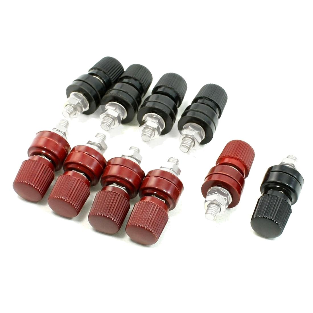 CNIM Hot 5.7mm Thread Dia Dark Red Black Plastic Metal Binding Post Terminal 10 Pcs bookcase 60 h dark taupe black metal 7241