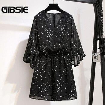 GIBSIE Plus Size Women Clothing High Waist Chiffon Print Romper Jumpsuit 5XL 4XL Summer Women V-neck Half Sleeve Beach Playsuit