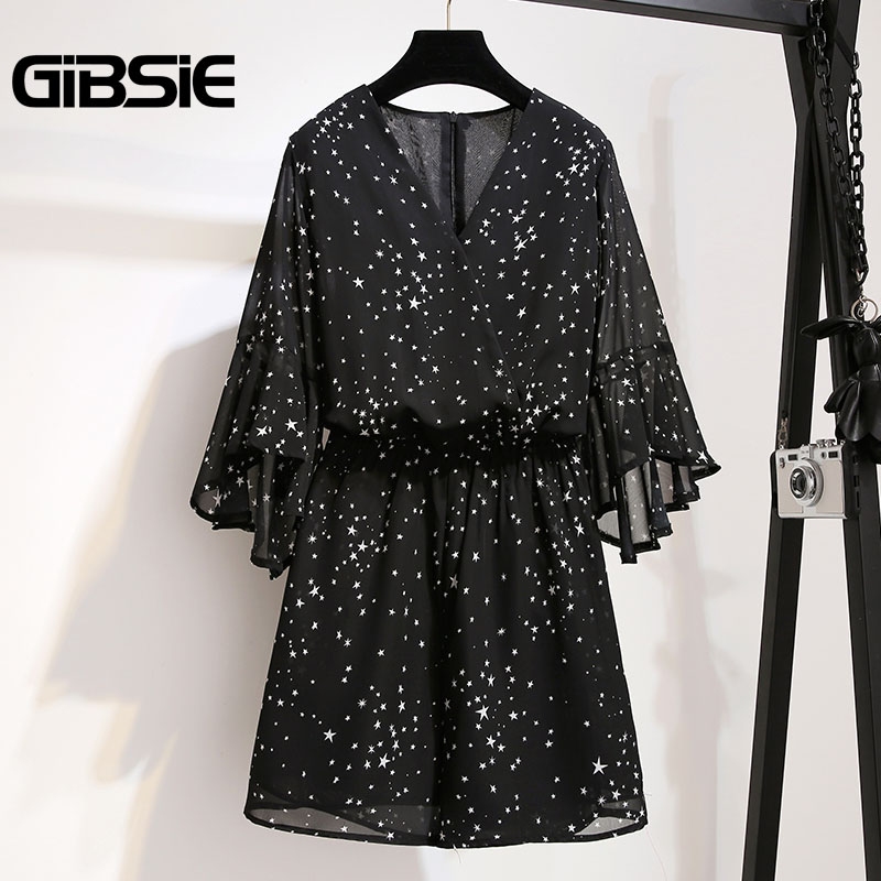 GIBSIE Plus Size Women Clothing High Waist Chiffon Print Romper   Jumpsuit   5XL 4XL Summer Women V-neck Half Sleeve Beach Playsuit