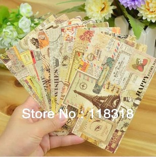 (1 Lot=9 Sheets) DIY Scrapbooking Europe Vintage Stamp Christmas Postcards Greeting Birthday Message Cards Wedding Decoration