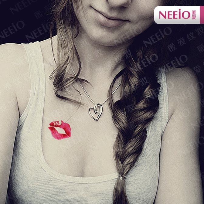 Red lips skull tattoo sticker waterproof sexy wrist arm for Can you tattoo your lips