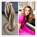 Full Shine Piano Balayage Color 8 Ombre Color 613 Tape in Human Hair Extensions Brazilian Remy Skin Weft Seamless Hair Tape