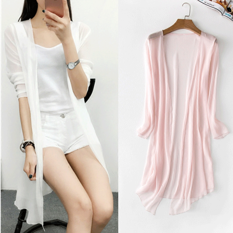 Rylanguage Summer Chiffon Blouse Pink Cardigan Sun Protection clothing Long Blouse Beach White female Fashion Tops Feminino