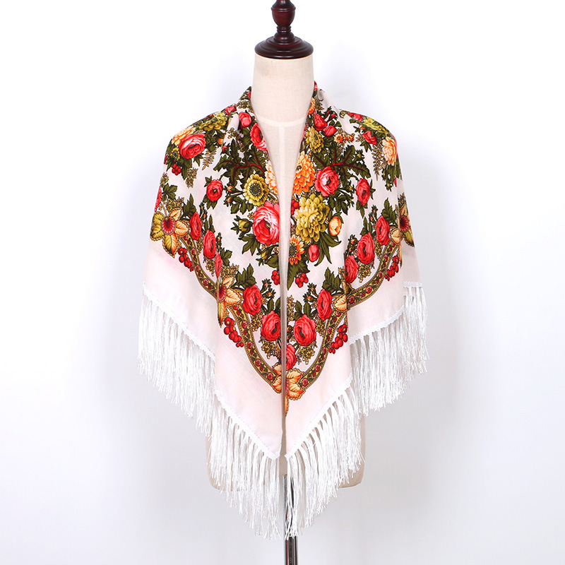 Fashion Women Printing Russia Style National Designs With Four Sides Tassel Large Squar Shawl   Scarf   Oversize   Wrap   125CM*125CM 02