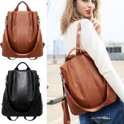 Стильный туристический рюкзак для женщин модная искусственная кожа на молнии женская школьная сумка Противоугонная походная