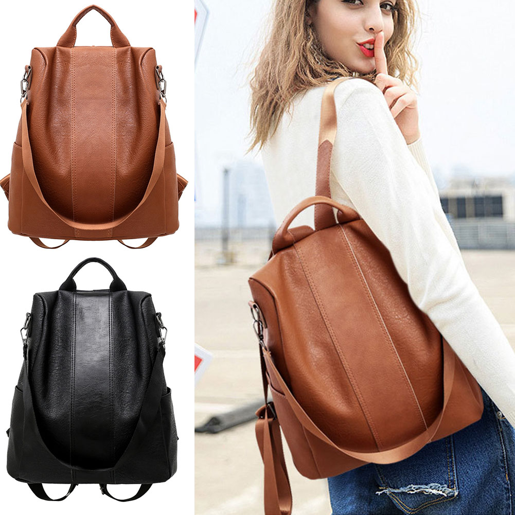 Stylish Travel Women Backpack Fashion PU Leather Zipper Lady Schoolbag Anti Theft Camping Casual Tote Soft