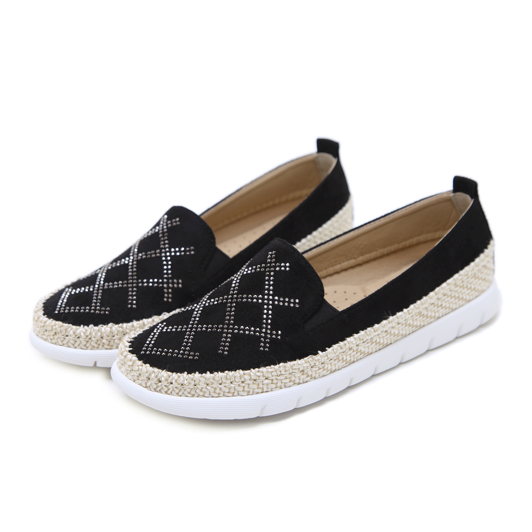 2019 Shoes Woman Loafers Shoes Rivet Spring Summer Women Rhinestone Hemp Rope Round Toe Flats Black