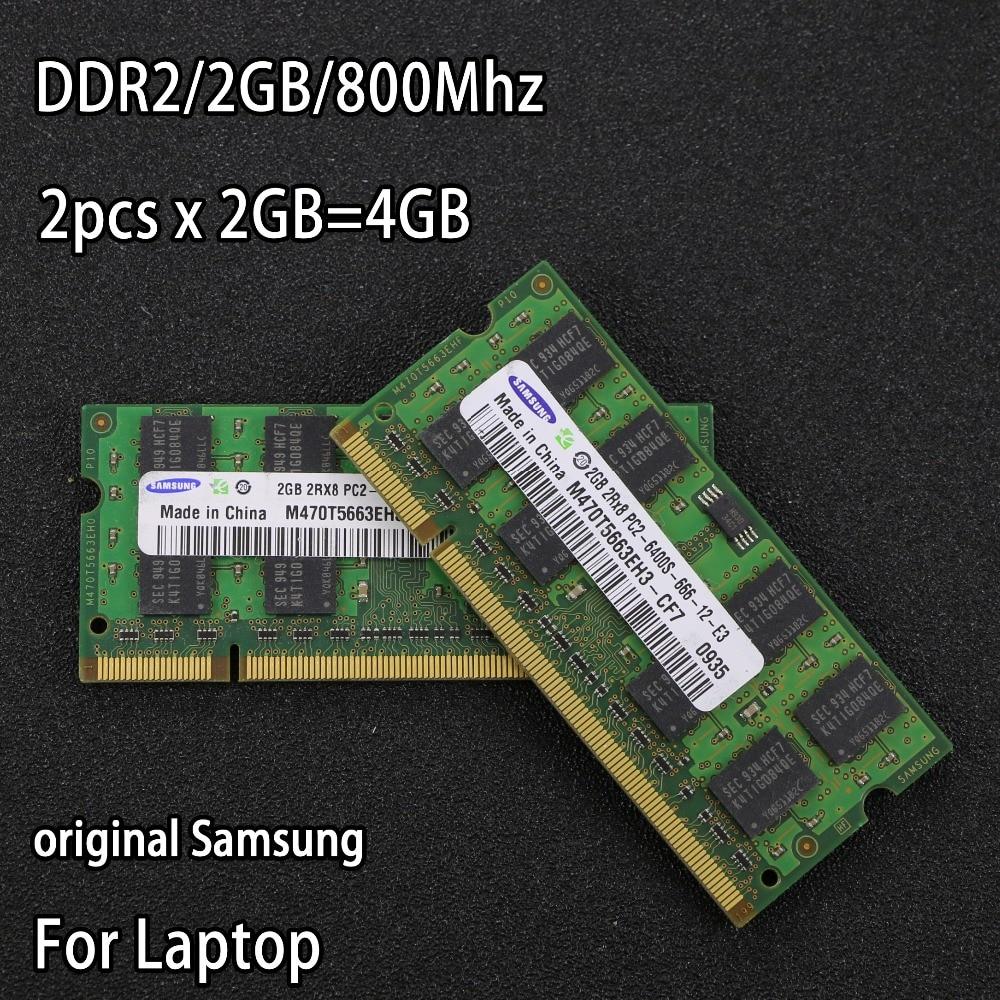 Original Samsung DDR2 2 gb 800 mhz PC2-6400S 2 stücke völlig 4g für intel für amd DDR 2 800 notebook speicher Laptop RAM 200PIN SODIMM