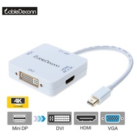 3 In1 Mini Display Port Dp To Hdmi Vga Dvi Display 4K 2K 1080P Thunderbolt Port