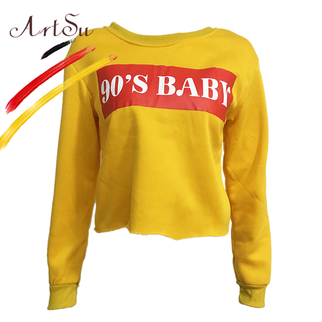 0f9f0f8e8034 ArtSu Yellow 90 S BABY Letter Print Hoodies Women s Sweatshirt Black ...