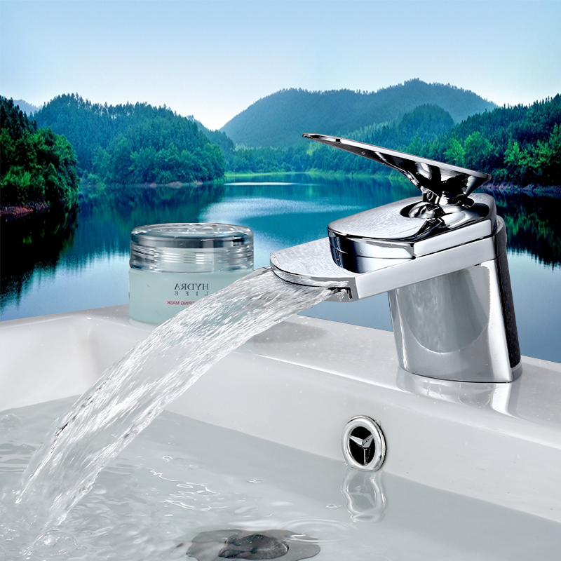 Basin Faucet Waterfall spout single handle Chrome Finish + Drain Solid brass para bathroom mixer water tap ceramic valve