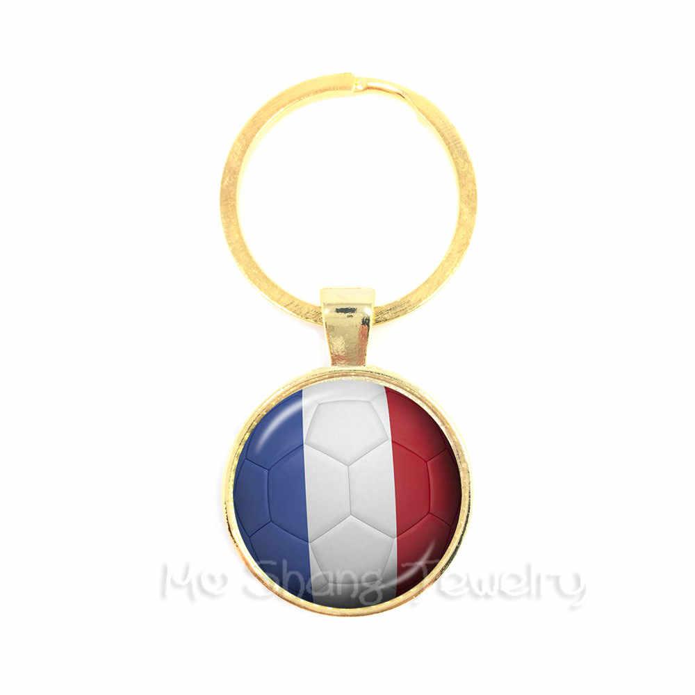 Colômbia, da França, da Costa Rica, na Inglaterra, coreia do sul de Futebol Lembranças Keyring Pingente Cúpula de Vidro Chaveiros Anel Titular Para Divertimentos