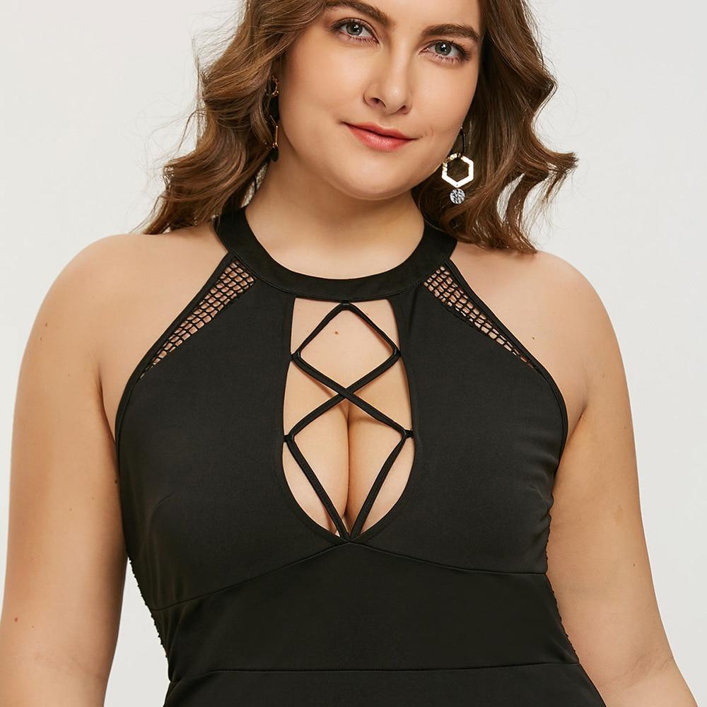 Gamiss Plus Size Mini Cut Out Sexy Club Party Dress Women Black O Neck Sleeveless Bodycon Dresses Vestidos Summer Dress Robe 5XL