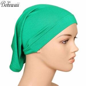 Image 3 - BOHOWAII イスラム教徒イスラムボンネットヒジャーブキャップ 20 色高品質 Hidjab 女性スカーフの下カジュアル Turbante