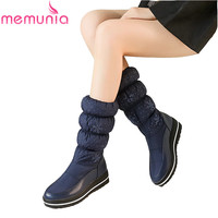 MEMUNIA Fahsion New Arrive Women Boots Black Blue Snow Boots Platform Down Waterproof Mid Calf Boots