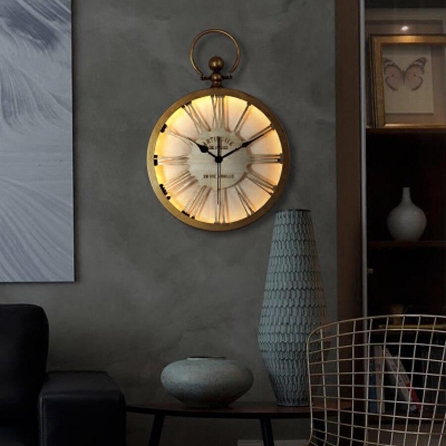 Large Metal Wall Clock Modern Design Nordic Retro Hanging Clock with LED Lighting Glass Mirror Iron Wall Clocks Glow in Dark gold metal duvar saati