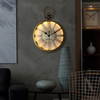 Large Metal Wall Clock Modern Design Nordic Retro Hanging Watch with LED Lighting Glass Mirror Iron Wall Clocks Glow in Dark
