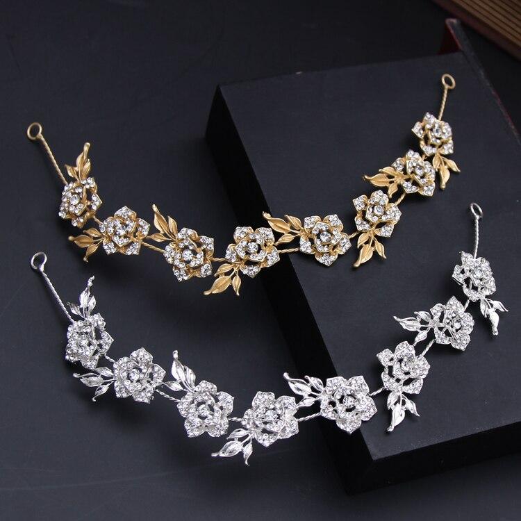 Dower Mich Gold Silber Rose Blume Haar Reben Hochzeit