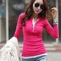 5 Colores de Corea del Botón de Las Mujeres de Cuello de Manga Larga Camisetas de Algodón Ocasional Delgado Suéter Tops Tee