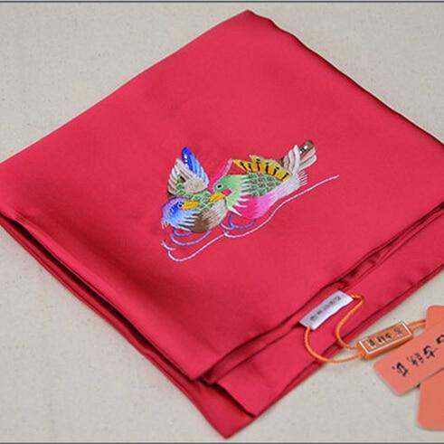 Men/Women Silk Handkerchief Red Vintage Hankies Fashion Upscale Mandarin  Ducks Embroidery Silk Soft Pocket Handkerchiefs LI42-in Ties & Handkerchiefs  from ...