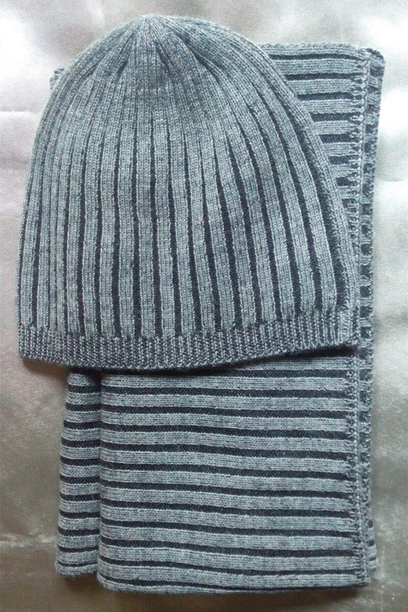 Promotions 100% chèvre cachemire rayé femmes enfants écharpe chapeau 2 pièces/ensemble bicolore gris 22x160 cm/S (54-56)