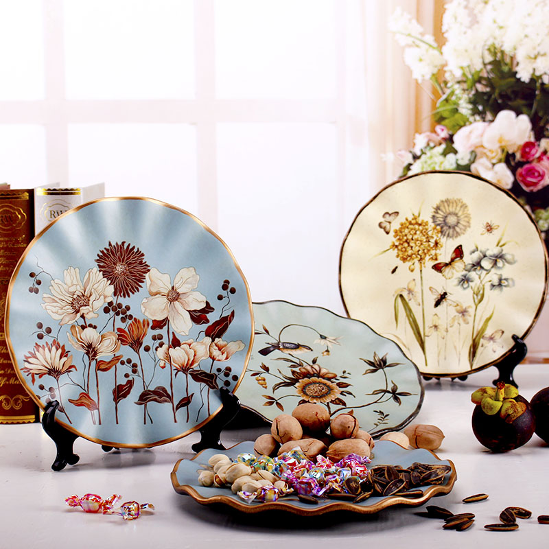 8 Inch Amerikaanse Klassieke Keramische Decoratieve Plaat Eenvoudige Moderne Woonkamer Servies Plaat Wijnkast TV Kast china Plaat