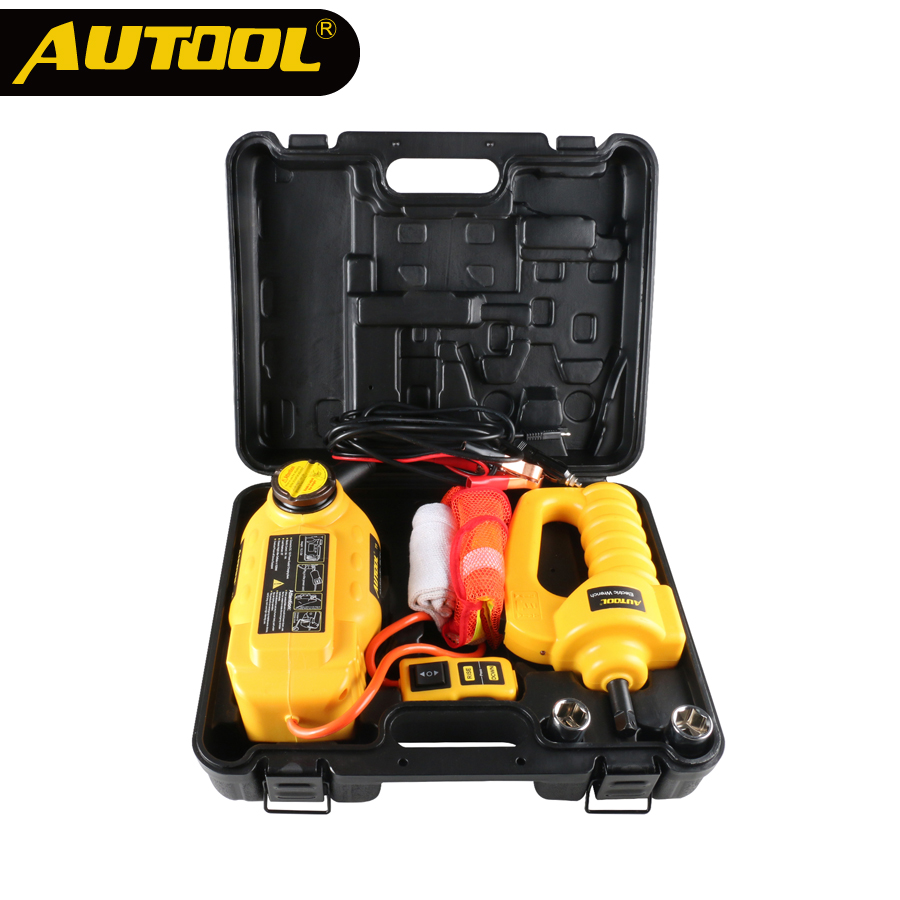 AUTOOL 12V 6T Hydraulic Jack Electricial Floor Jacks Electric Wrench Socket Sedan SUV Vehicle Tire Tyre Repair Lifting Jacks Set