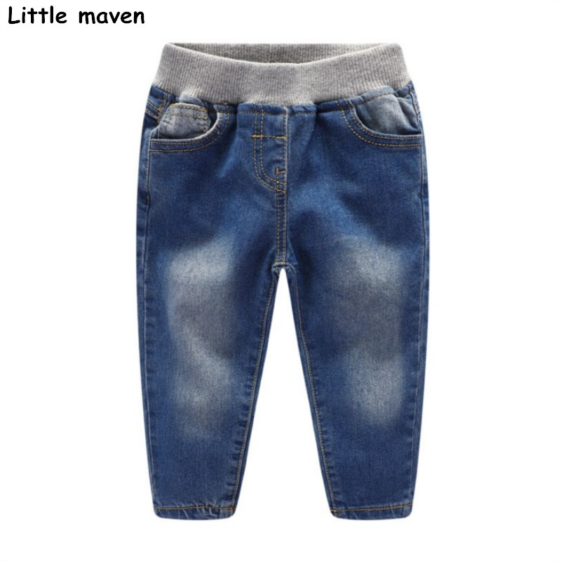 Little maven 2017 autumn winter new children's brand trousers 2-7 year dark blue girl Denim Jeans K142