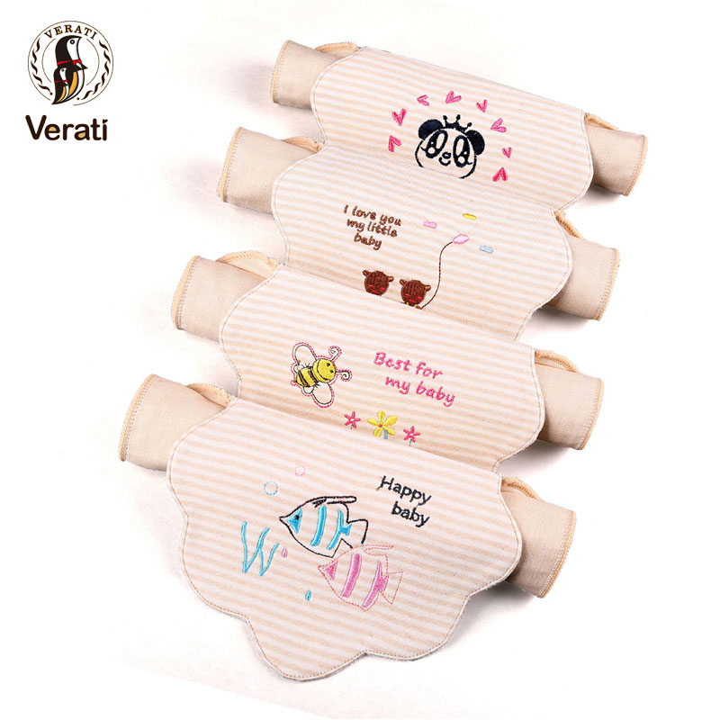 VERATI Baby Absorbent Towels Baby Sweat Towel Cartoon Embroidered Natural Color Cotton Baby Pad Back Towel Baby Stuff V082
