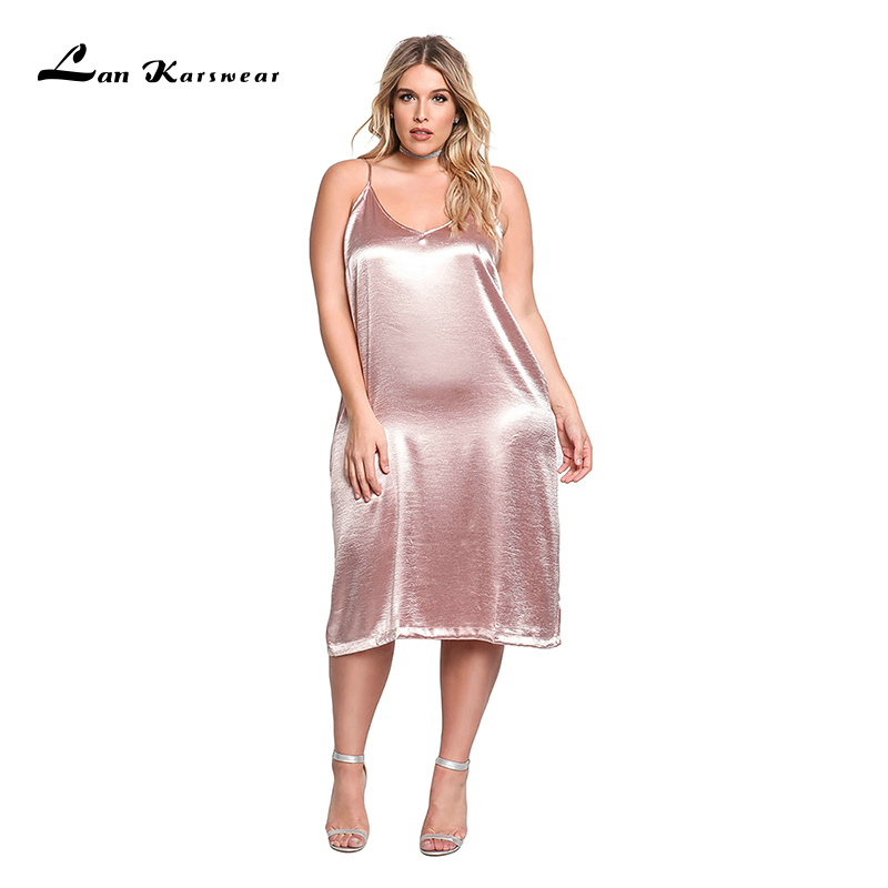 Lan Karswear 2018 Summer Sexy V-neck Spaghetti Strap Nightclub Party Dresses Plus Size Women Clothing Big Size