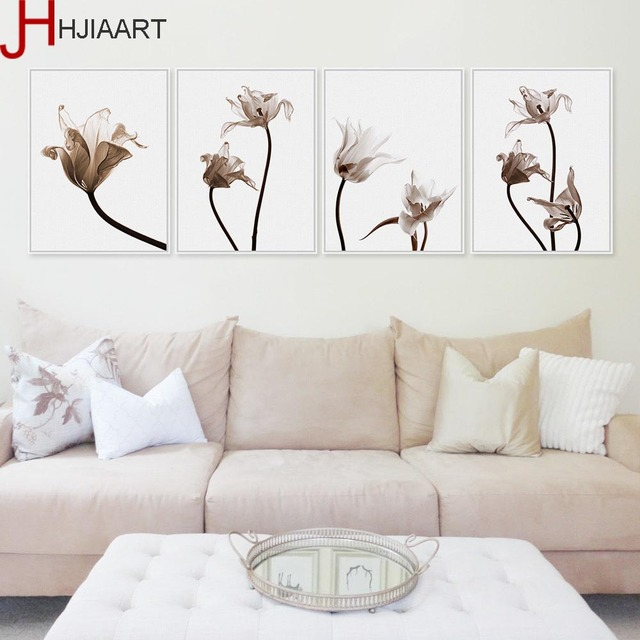 Tulips Flower Photo Poster Color Plant Floral Wall Art Pictures Nordic Living Room Home Decor Canvas Painting No Frame