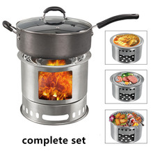 Portable Multifunctional Camping Stove Folding Can Accommodate Barbecue Oven Outdoor Firewood Stove Cooker Traveling Picnic BBQ