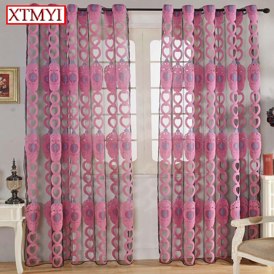 Modern Embroidered Curtains For For Living Room Grey Yellowpink Sheer Curtains For Bedroom