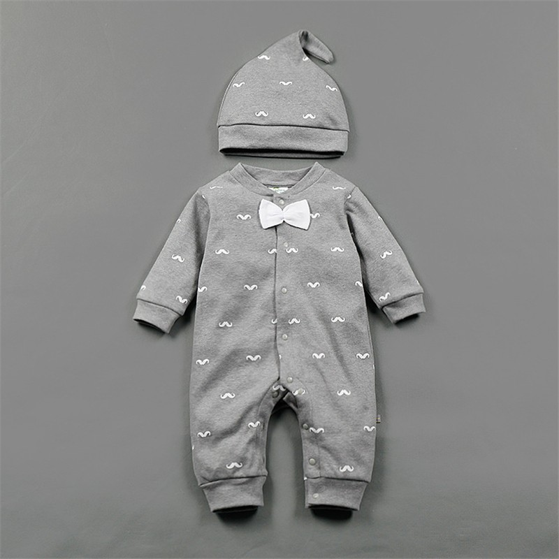 17 Spring New Baby Boy Clothes Beard Print Fashion Romper+Cap 2pcs/set Newborn Toddler Baby Clothing Set Bebes Outfits 0-2T 4