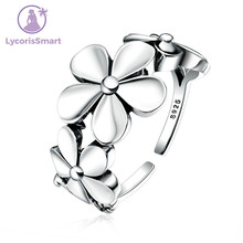 Exquisite Real 925 Sterling Silver Flower Poetic Daisy Cherry Blossom Finger Ring for Women Jewelry