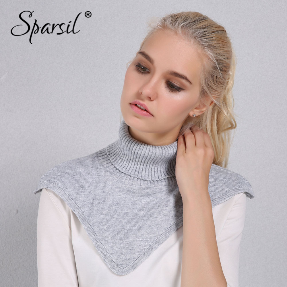 Sparsil Women Winter Turtleneck Knitted Ring Scarf Irregular Design Cap Collar Autumn Knitting Pullover Warm Soft Scarves