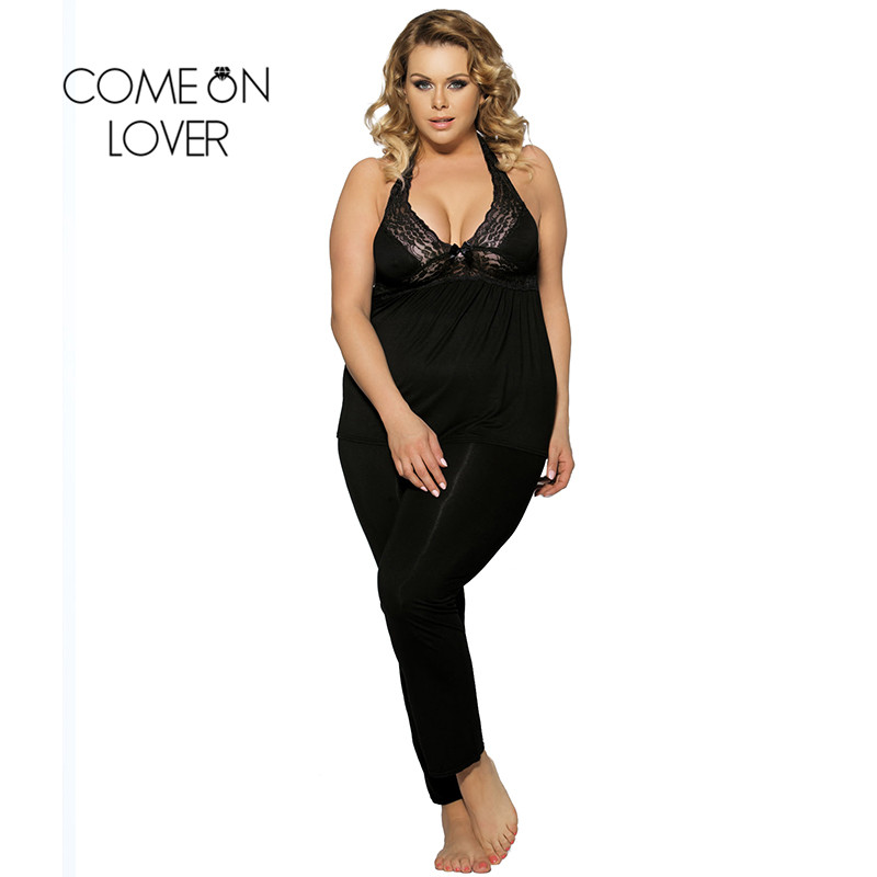 Comeonlover Sexig Nattkläder Spets Halter Backless Home Wear Elegant 2 Pieces Mjuk Sexig Nightgown Big Pyjamasats Kvinnor RI80160
