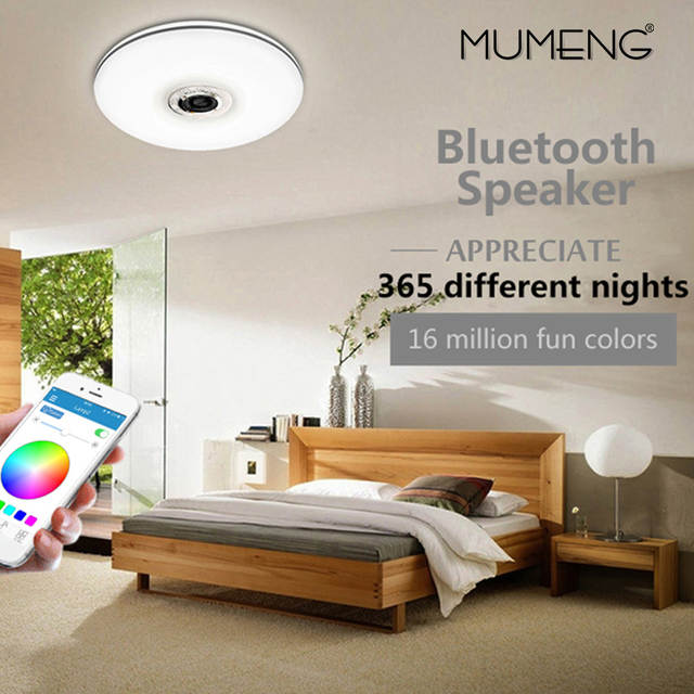US $94.85 40% OFF Mumeng LED Decke Licht 32 watt wohnzimmer Musik Lampe  Bluetooth Lautsprecher Lampara Bunte dimmbare Party Kunst Dekoration ...