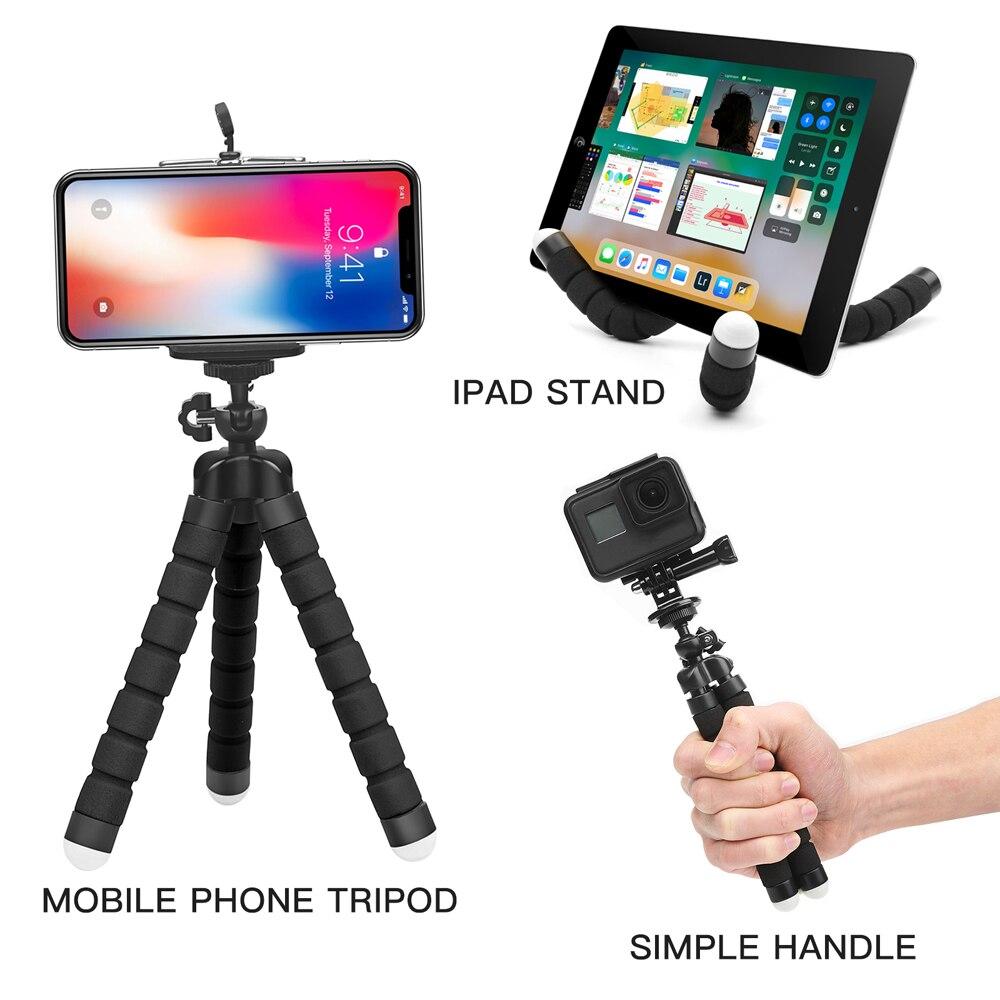 SHOOT Mini Flexible Sponge Octopus Tripod for iPhone Samsung Xiaomi Huawei Mobile Phone Smartphone Tripod for Gopro 9 8 7 Camera 4