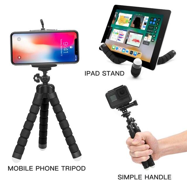 Atirar mini flexível esponja polvo tripé para iphone samsung xiaomi huawei telefone móvel smartphone tripé para gopro 8 7 5 câmera