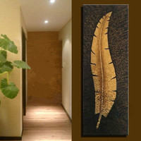 Modern Abstract Large Wall Art Home Decoration Canvas Paintings Pictures Hand Painted Gold Leaf Oil Painting