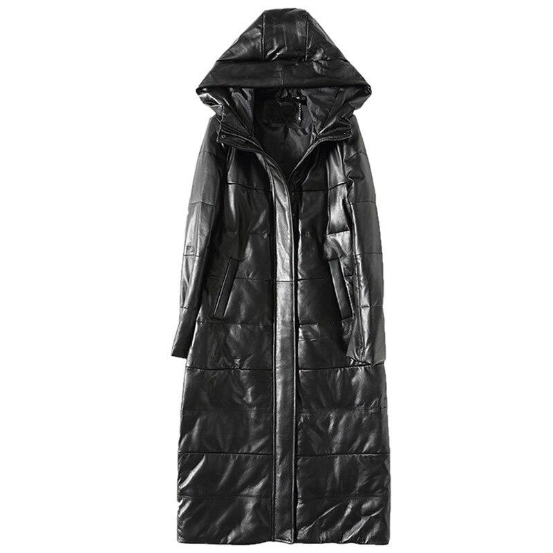 Down Jacket Genuine Leather Jacket White Duck Down Winter Coat Women Korean Parka Hooded Long Black Slim Coats Plus Size ZT375