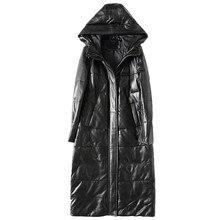 Пуховик из натуральной кожи куртка белая утка вниз зимнее пальто Для женщин Корейская парка с капюшоном длинные черные тонкие пальто плюс Размеры ZT375